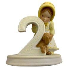 1982 Holly Hobbie 2nd Birthday Girl Bisque Porcelain Figurine