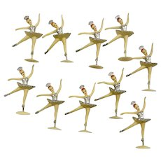 Vintage Ballerina Cake Toppers Silver Colored Tutus Set of Ten