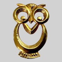 Vintage Gold-Tone Owl Brooch Pin