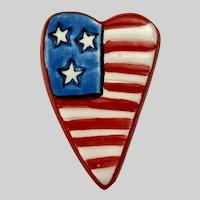 Silvestri Ceramic Heart American Flag Lapel Pin