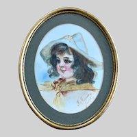 G. Feeney, Cute Little Girl Portrait Watercolor Painting