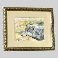 Steven P Volski, Lone Grey Wolf Watercolor Painting By Listed Texas Artist