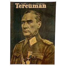 Mustafa Kemal Atatürk 1st President of Turkey Vintage Print Tercüman Magazine