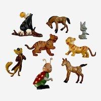 Vintage Plastic Animal Figures Cat Ladybug Vulture Group