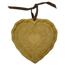 Folk Art Heart Brown Bag Cookie Art Mold 1988 Hill Design