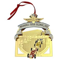 Indianapolis Motor Speedway 2002 Christmas Brass Ornament