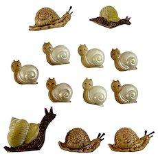 Vintage Dollhouse Adorable Miniature Snail Plastic Figures Hong Kong