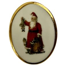 Christmas Saint Nicholas Transfer Round Pin Brooch