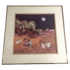 Katalin Olah Ehling, Original Batik Painting, Southwestern Indians Walking 'Homeward Bound' Breckenridge Galleries, Signed by Listed Southwest Artist