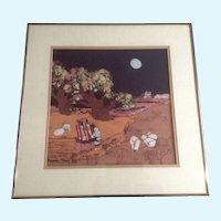 Katalin Olah Ehling, Southwestern Indians Batik Painting Signed by Listed Southwest Artist