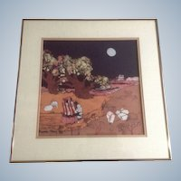 Katalin Olah Ehling, Southwestern Indians Batik Painting Signed by Listed Southwest Artist