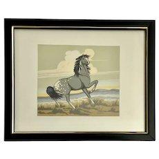 Frank Vigil (1922-1974) Gray Mustang Horse Serigraph Original Tewa Print