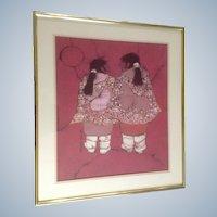 Katalin Olah Ehling,  Indian 'Little Sisters' Batik Painting Signed by Listed Southwest Artist