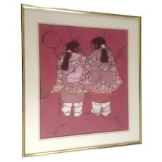 Katalin Olah Ehling, Original Batik Painting, Southwestern Indian 'Little Sisters' Breckenridge Galleries, Signed by Listed Southwest Artist