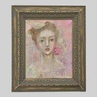 Karen D Milstein, Eccentric Portrait of the Bird Lady Mixed Media Painting
