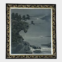 Antique Woven Silk Tapestry Japanese Tranquil Seascape S & G Gump Sticker