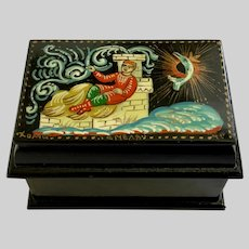 Russian Black Lacquer Hinged Trinket Box Hand Painted Signed