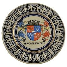 West Germany Original Gerzit Berchtesgaden Crest Stoneware Pottery Plate