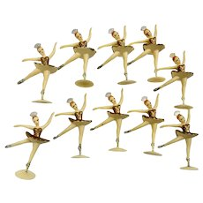 Vintage Ballerina Cake Toppers Gold Colored Tutu's Set of Ten