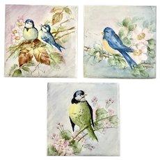 Vintage Bird Tiles Hand Painted Cute Set of 3