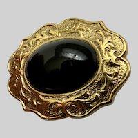 Black Gold-tone Floral Rim Brooch Pin