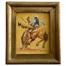 Gene Vincent, Bronc Riding Cowboy Miniature Oil Painting 1969