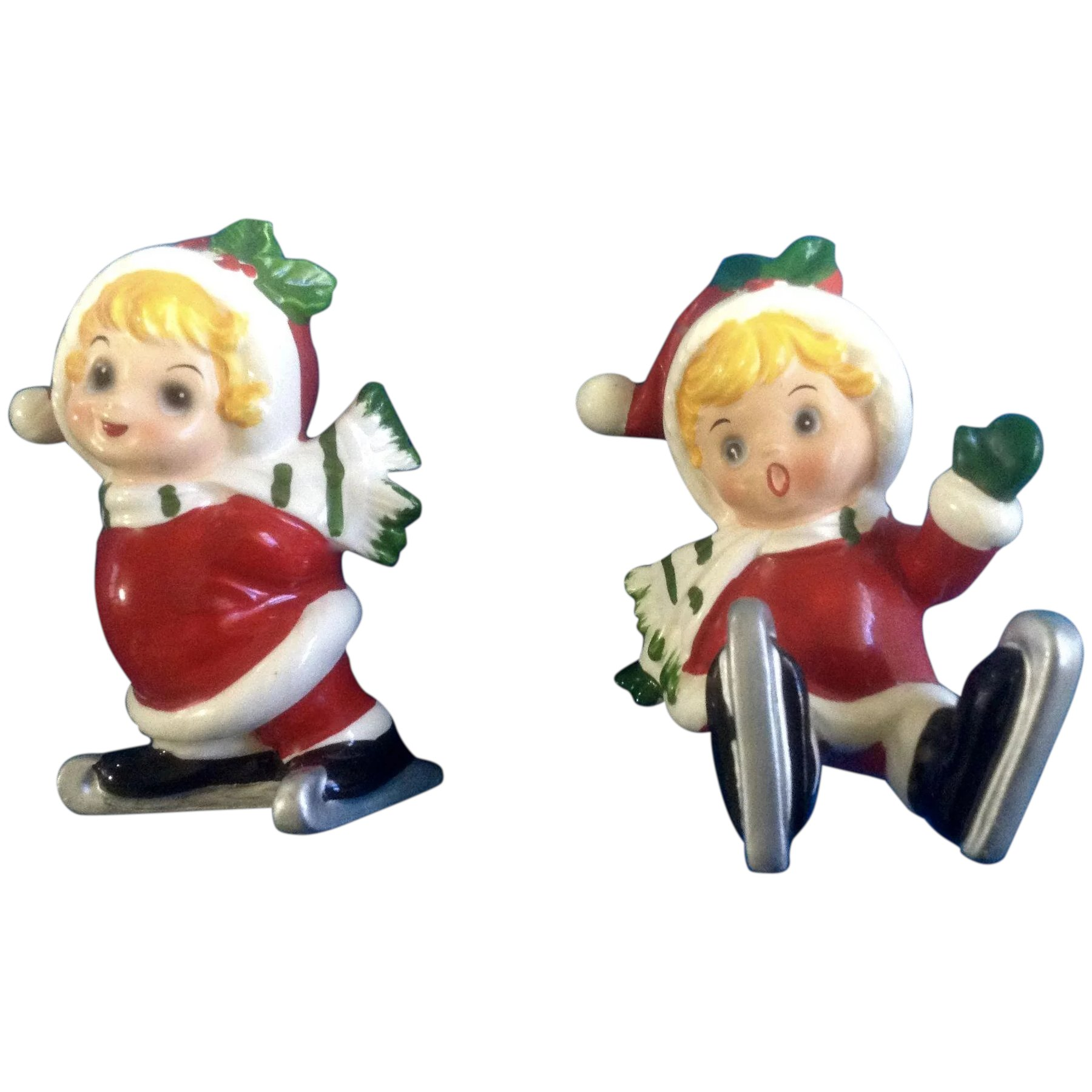 Vintage Josef Originals Christmas Pair of Ice Skating Girl Figurines ...