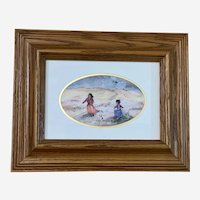 Dancing Native American Indian Girls Southwestern Watercolor Painting