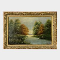 Hee Duk, Primitive Fishing Landscape Oil Painting