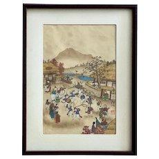 Vintage Woodblock Print Pungmul Korean Folk Dance Festival