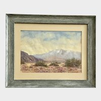 Florence Moore Hurin, Blooming Desert Landscape Watercolor Painting California Listed Artist