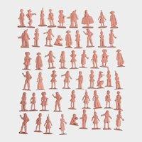 Vintage Pink Figural People Cake Topper Plastic Miniatures
