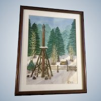 Odic, Alaskan Totem Pole Watercolor Painting