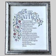 Vintage The Lord's Prayer: Matthew 6:9-13  Framed Bible Print