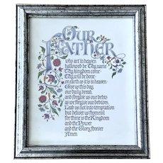 Vintage The Lord's Prayer: Matthew 6:9-13  Framed Bible Print