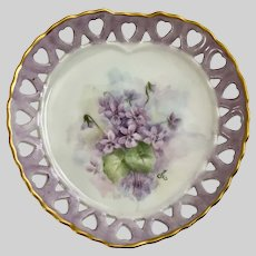 Vintage Violets Heart Pierced Dish Hand Painted Signed