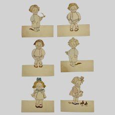 Children Ephemera Place Cards 1920s-1930s Paper Hand Made Cutouts