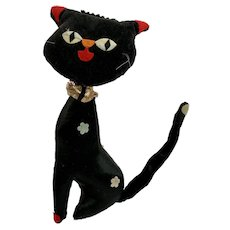 Mid-Century Black Kitty Cat Holiday Fair Plush Stuffed Animal
