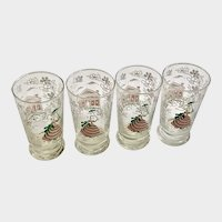 Vintage Libbey Glasses Pink Victorian Lady and White Dogwood Flowers