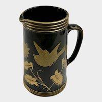 Jackfield Pottery Pitcher Black & Gold Bird