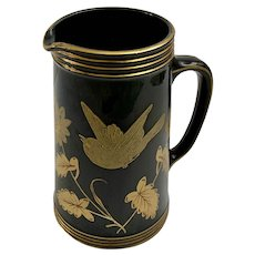 Jackfield Pottery Pitcher Black & Gold Bird