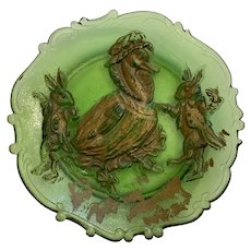 Old Glass Anthropomorphic Duck and Bunnies Relief Plate