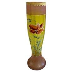 Antique Glass Enamel Orange Poppies Hand Painted Floral Vase