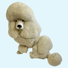 Vintage French Poodle Dog Firm Plush Animal Doll Companion Glass Eyes