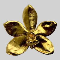Bright Gold-Tone Orchid Flower Pin Brooch