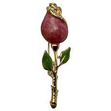 Stunning Pink Single Rose Enamel Gold-tone Brooch Pin
