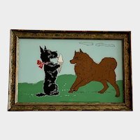 Scottie and Malamute Dogs Vintage Reverse Glass Painting