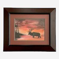 Jon Zimmer, Silhouette of an Elk Walking Across River Enhanced Print