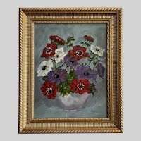 Theresa Noyes, Floral Anemones Still Life Oil Painting Pennsylvania Artist