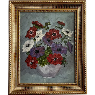 Theresa Noyes, Floral Anemones Still Life Oil Painting Pennsylvania Artist